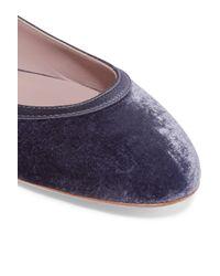 Aerin Blue Satin-trimmed Velvet Ballet Flats
