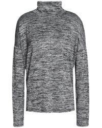 Rag & Bone - Gray Woman Cutout Stretch-knit Turtleneck Sweater Anthracite - Lyst