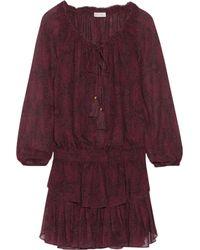 LoveShackFancy Purple Ruffled Printed Silk Mini Dress