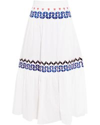 Temperley London White Spellbound Embroidered Poplin And Swiss-dot Cotton Midi Skirt