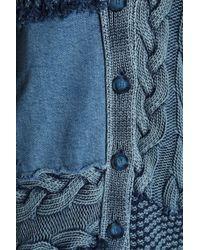 Stella McCartney - Blue Patchwork Cable-knit Cotton And Denim Cardigan Mid Denim - Lyst