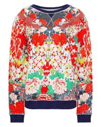 Camilla Embellished Printed French Cotton-terry Sweatshirt Red