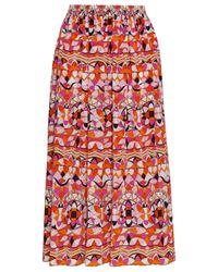 Emilio Pucci Gathered Printed Silk Midi Skirt Bright Orange