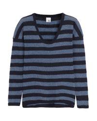 Iris & Ink Blue Striped Cashmere Sweater