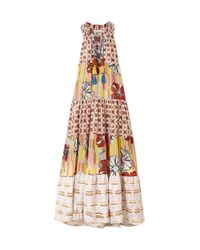 Anjuna Multicolor Tiered Metallic-trimmed Printed Cotton-blend Voile Maxi Dress