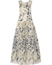 Mikael Aghal Multicolor Embroidered Tulle Gown