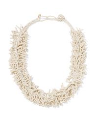 Kenneth Jay Lane - White Beaded Gold-tone Necklace - Lyst
