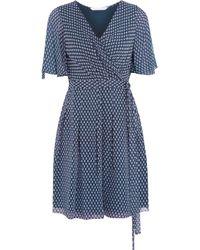 Diane von Furstenberg - Blue Katina Pleated Printed Silk-chiffon Wrap Mini Dress - Lyst
