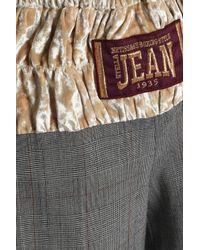 Stella Jean - Gray Crushed Velvet-paneled Checked Woven Wide-leg Pants - Lyst