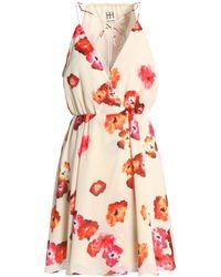Haute Hippie - Multicolor Wrap-effect Floral-print Crepe De Chine Mini Dress - Lyst