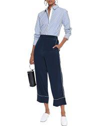 La Ligne Blue Bleu Striped Cotton-poplin Shirt Azure