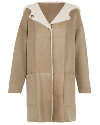 Yves Salomon Natural Shearling-paneled Wool And Cashmere-blend Hooded Coat Beige