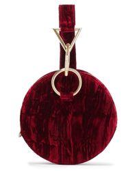 Tara Zadeh Red Azar Velvet Clutch Bag