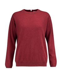 Brunello Cucinelli - Red Chain-embellished Cashmere Sweater - Lyst