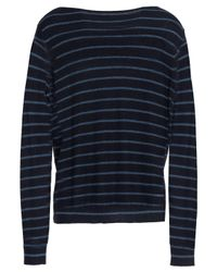 Vince - Blue Woman Striped Cashmere Sweater Navy - Lyst