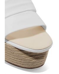 Paloma Barceló Paloma Barceló Luise Leather Espadrille Wedge Sandals White