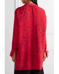 Valentino Red Asymmetric Printed Silk Crepe De Chine Blouse