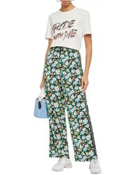 Maje Prague Floral-print Woven Wide-leg Pants Black