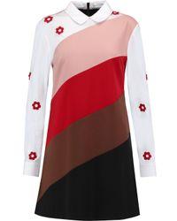 Vivetta White Appliquéd Paneled Cotton-blend Poplin And Twill Dress