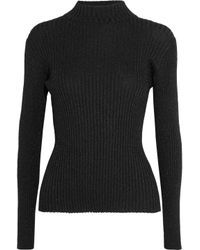 Markus Lupfer - Black Rosie Metallic Ribbed-knit Sweater - Lyst