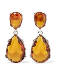Kenneth Jay Lane Red Silver-tone Crystal Earrings