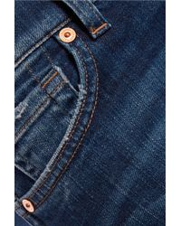 7 For All Mankind Blue Mid-rise Cropped Bootcut Jeans
