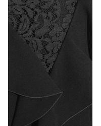 Rachel Zoe Black Deandrea Lace-paneled Ruffled Crepe Mini Dress