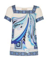 Emilio Pucci Blue Printed Silk-jersey Top