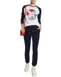 Zoe Karssen White Printed Slub Linen-blend Jersey Top