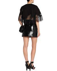 McQ Alexander McQueen Black Chantilly Lace-paneled Cotton-blend Top