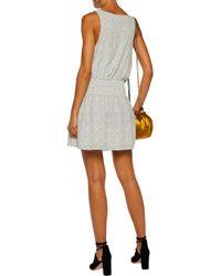 Joie - White Lawska Shirred Printed Washed-silk Mini Dress - Lyst