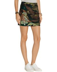 Ashish Green Camouflage-sequined Silk-georgette Mini Skirt
