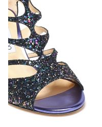 Jimmy Choo Blue Cutout Glittered Leather Sandals Multicolor