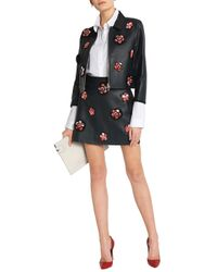 Victoria, Victoria Beckham Black Appliquéd Leather Mini Skirt