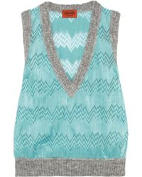 Missoni Blue Crochet-knit Vest