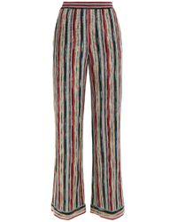 Missoni Red Metallic Crochet-knit Wide-leg Pants