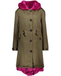 Ainea Blue Faux Fur-trimmed Satin Hooded Coat