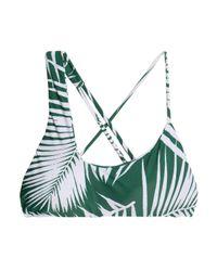 Mikoh Swimwear Green Asymmetric Printed Bikini Top