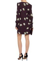 Goat - Multicolor Woman Floral-print Crepe Mini Dress Burgundy - Lyst
