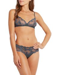 La Perla Gray Zephyra Leavers Lace And Tulle Thong