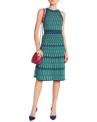 M Missoni Green Crochet-knit Cotton-blend Dress
