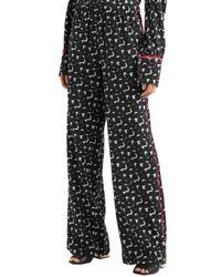 Marni Printed Silk Crepe De Chine Wide-leg Pants Black