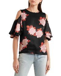 Ganni Woman Short Sleeved Top Black