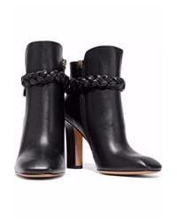 Valentino Garavani Black Braided Leather Ankle Boots