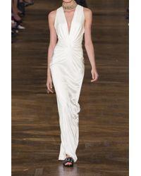 Lanvin White Twist-front Jersey Gown