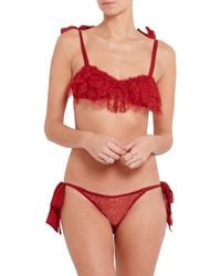 I.D Sarrieri Red Fancy Ruffled Chantilly Lace And Stretch-tulle Push-up Bra