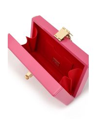 Dolce & Gabbana Leather-trimmed Printed Patent-wood Clutch Pink