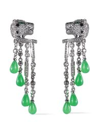 CZ by Kenneth Jay Lane - Metallic Silver-tone, Resin And Crystal Earrings - Lyst