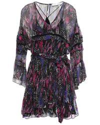 IRO Purple Belted Printed Georgette Mini Dress Violet