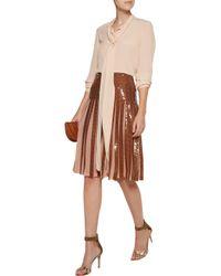 Emilio Pucci - Multicolor Metallic Pleated Sequined Silk-georgette Skirt - Lyst